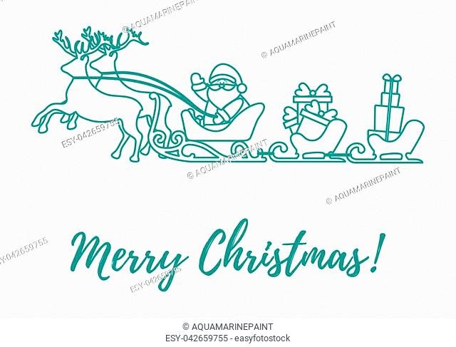 Santa Claus with Christmas presents in sleighs with reindeers. New Year and Christmas illustration. Design for greeting card, banner, poster or print
