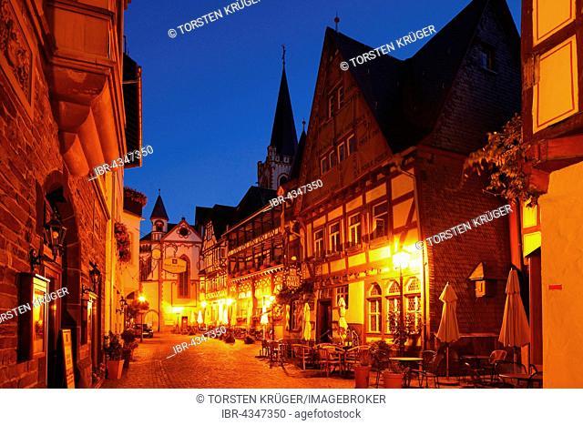 Oberstraße street in historic centre at dusk, Bacharach, Rhineland-Palatinate, Germany