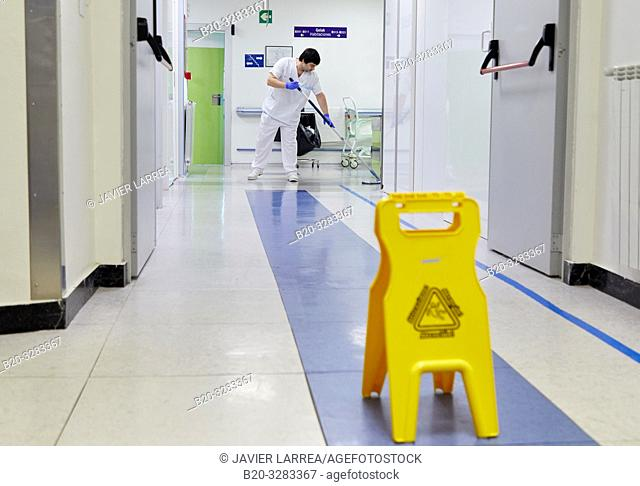 Janitor, Cleaning employee, Hospital Donostia, San Sebastian, Gipuzkoa, Basque Country, Spain