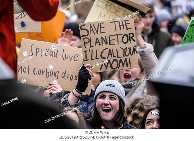 January 25, 2019 - Munich, Bavaria, Germany - Showing no signs of abating, over 3,500 students participated in the Fridays for Future climate strike at Munich's...