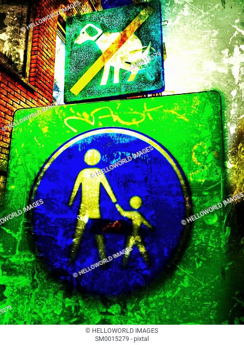 No dog pooping and pedestrians adult and child sign