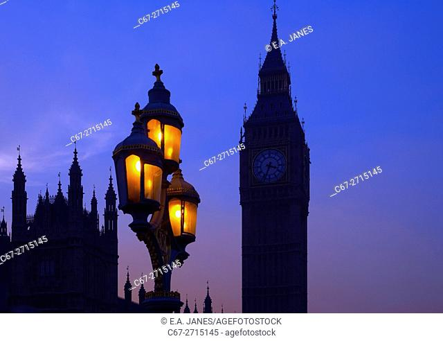 The street lighting and Houses of Parliment at westminster winter sunset UK
