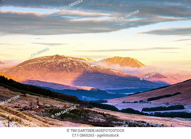 glenn orchy, beinn dorain, beinn an dothaidh, Argyll and Bute, Scotland, uk;