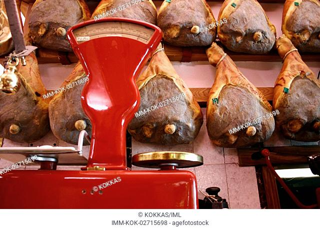 Bucher's Shop, scales, smoked hams, Greve in Chianti, Tuscany, Italy, Europe