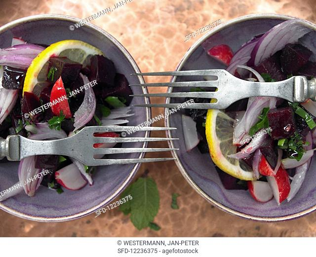 Beetroot salad with herbs and pomegranate syrup (Lebanon)