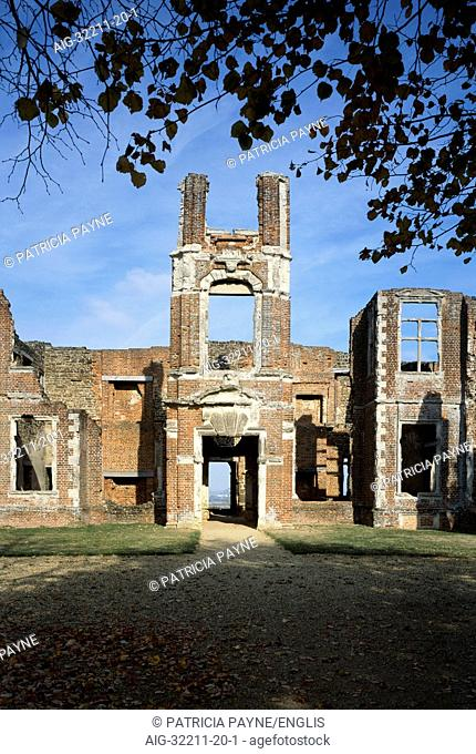 Houghton House. Exterior view of the remains of the South porch tower. 1615