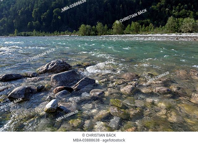 The Isar river near Lenggries, Upper Bavaria, Bavaria, Germany
