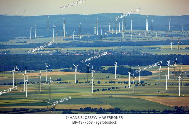 Aerial View, wind turbines, wind farm Wunnenberg, wind power, alternative energy, renewable energy, landscape destruction, Bad Wunnenberg, Soester Plain