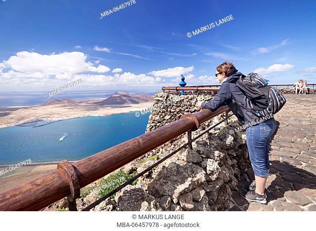 View of the Mirador del Rio to the island La Graciosa, Cesar Manrique, Lanzarote, Canary islands, Spain