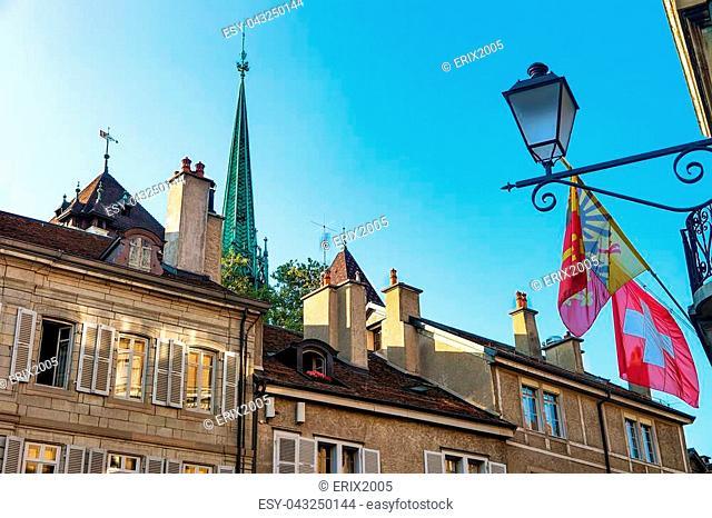 Flags on Place du Bourg-de-Four in Geneva city center, Switzerland