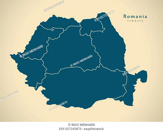 Modern Map - Romania with regions RO illustration