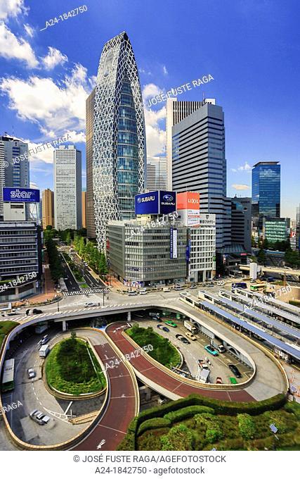Japan , Tokyo City, Shinjuku District, sky scrapers at Shinjuku west side, Cocoon tower bldg