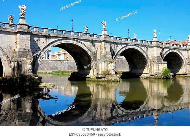 Rome, Italy. View of famous Sant' Angelo Bridge and River Tevere