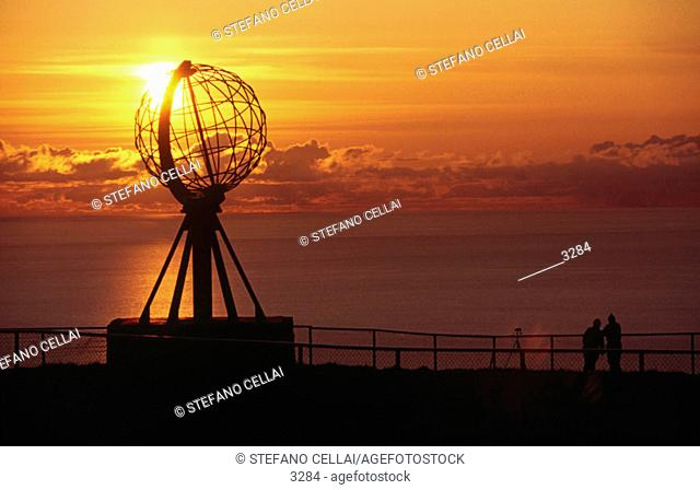 North Cape, midnight sun. Mageroya island. Norway