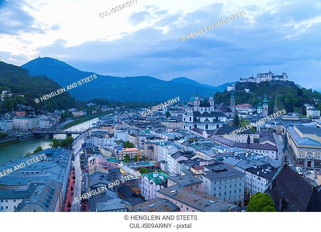 Salzach river, Kollegien Church, Hohensalzburg castle, Salzburg, Austria