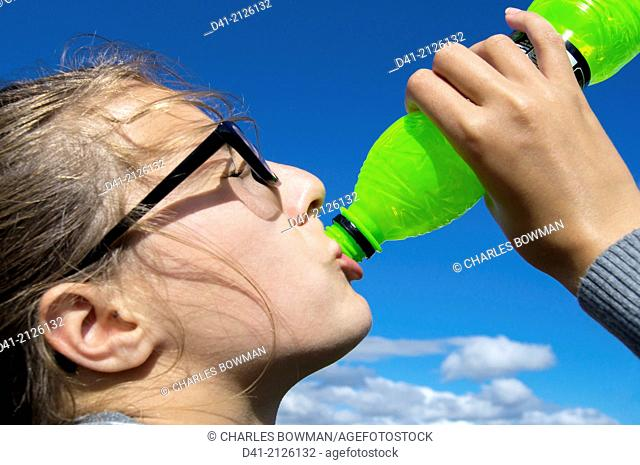 teenager thirsty drinking