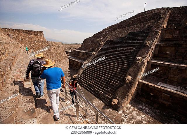 Tourists at the Temple of the Feathered Serpent-La Ciudadela in Teotihuacan Ruins, Teotihuacan Archaeological Site, Mexico City, Mexico, Central America