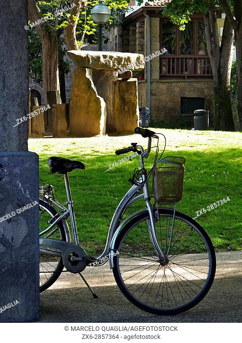 Bicycle. Zarautz village. Basque country. Gipuzkoa province. Euskadi, Spain
