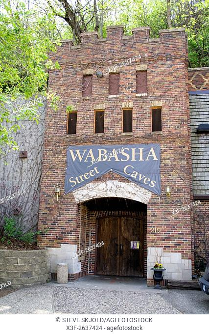 Entrance to the infamous Wabasha Street Caves event center with gangster and crook tours. St Paul Minnesota USA
