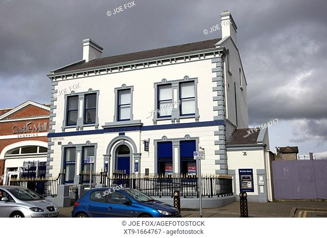 old ulster bank branch building market square antrim county antrim northern ireland uk