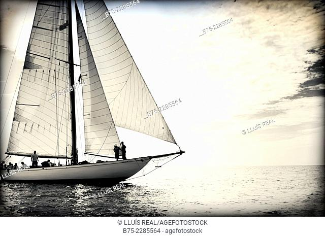 Close up view of a vintage sailing boat in the Mediterranean Sea on a calm day. Racing in Menorca coast, Balearic Islands, Spain, Europe