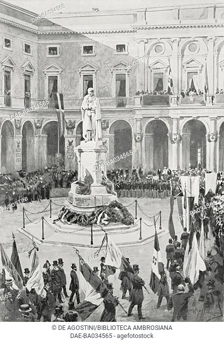 Societies passing in front of Giacomo Leopardi's statue in Recanati town square in Marche, Italy, to mark the centenary of the poet's birth