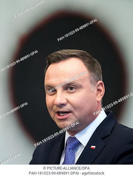23 October 2018, Berlin: Polish President Andrzej Duda will speak at a press conference with Federal President Steinmeier after her meeting in Bellevue Castle