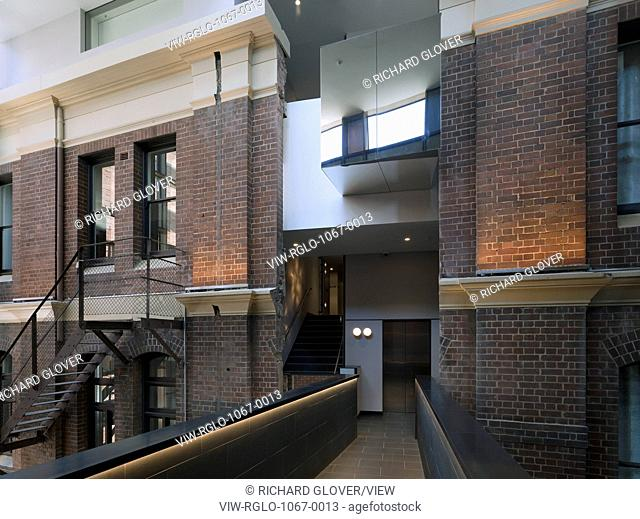 Interior bridge linking the former pub with the administration building. The Old Clare Hotel, Sydney, Australia. Architect: Tonkin Zulaikha Greer, 2015