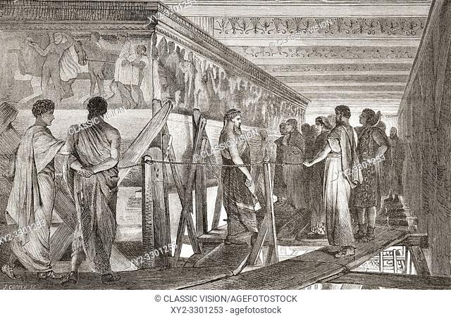 Phidias showing the frieze of the Parthenon to his friends, after the painting by Sir Lawrence Alma-Tadema. Phidias or Pheidias, c. 480-430 BC