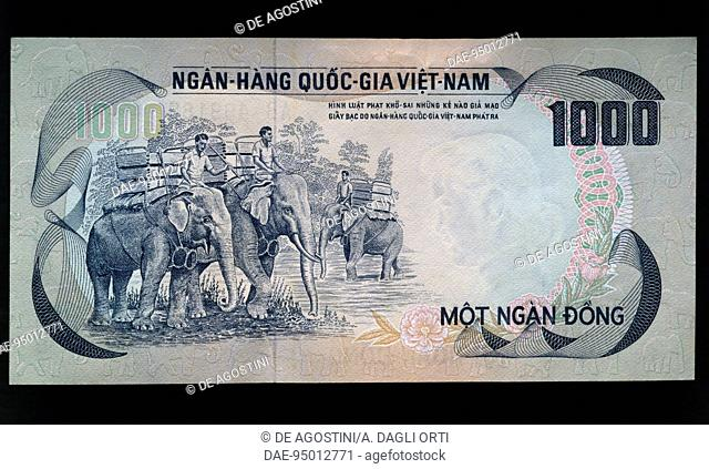 1000 dong banknote, 1972, reverse, elephants. South Vietnam, 20th century