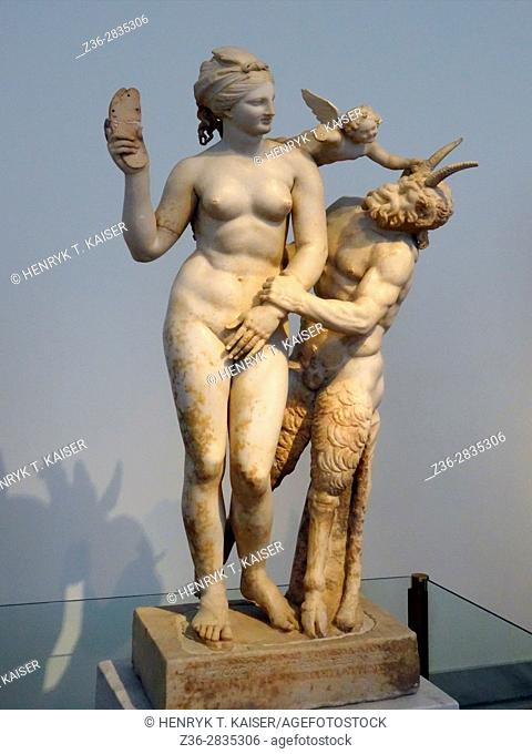 Aphrodite, Pan and Eros in National Archaeology Museum, Athens, Greece