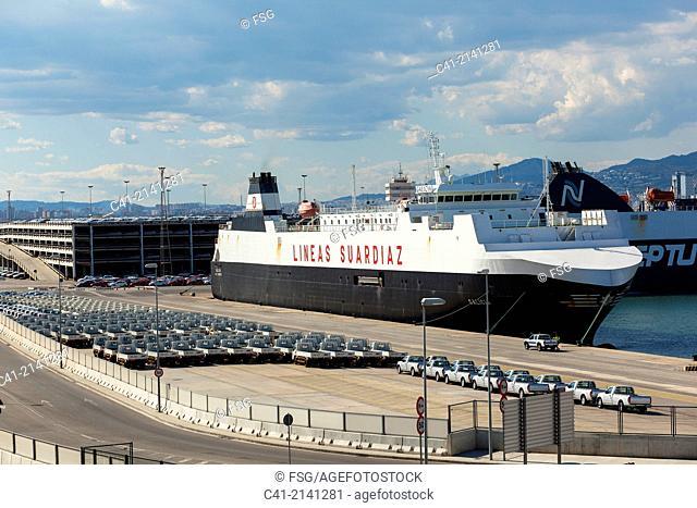 Cars waiting for board. Port of Barcelona. Barcelona. Spain