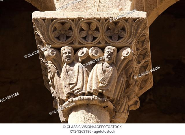 Segovia, Segovia Province, Spain  Iglesia de San Martin  Column capitals on Romanesque church of St  Martin
