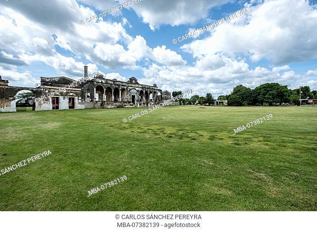 Yaxcopoil, Yucatan, Mexico - October 13, 2017: Hacienda Yaxcopiol, now is a museum, in the state of Yucatan in Mexico