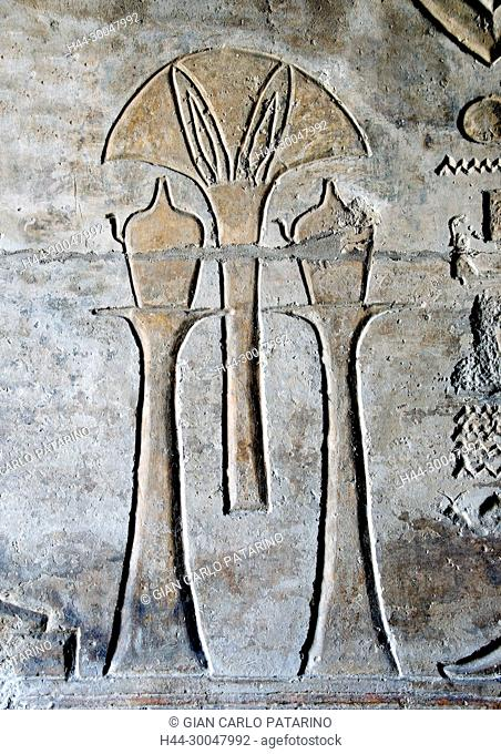 Luxor, Egypt, West Bank, Qurna. The funerary temple of the pharaoh Menmaatra Seti I (XIX° dyn.) in Qurna: vases and flowers carved in a wall
