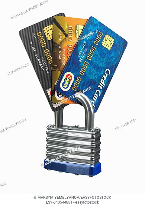 Credit card data security concept. Cards and lock isolated on white. 3d