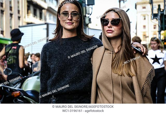 MILAN, Italy- September 20 2018: Lena Lademann and Sophia Roe on the street during the Milan Fashion Week