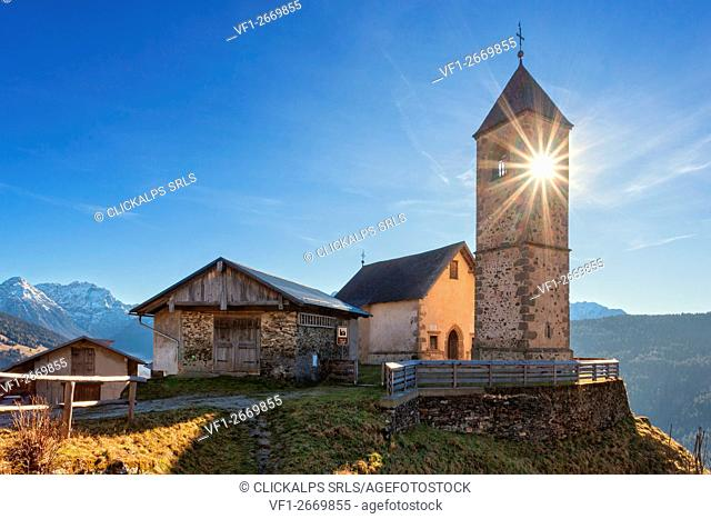 Europe, Italy, Veneto, Belluno. The small gothic church of Casamazzagno, Comelico Superiore. Dolomites