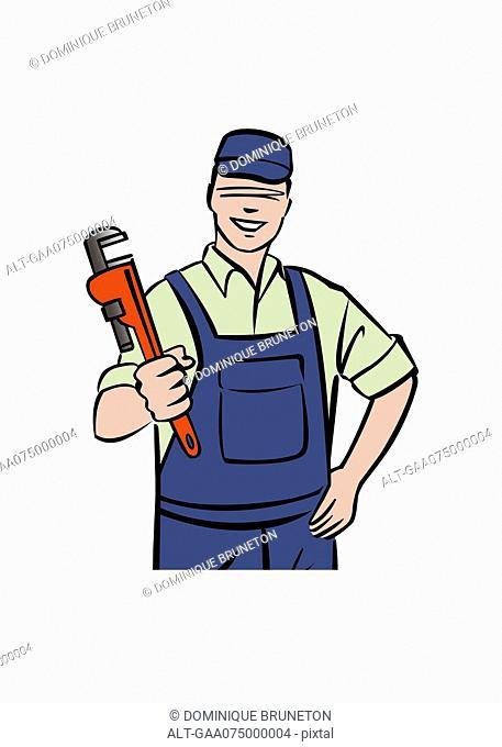 Illustration of plumber holding wrench