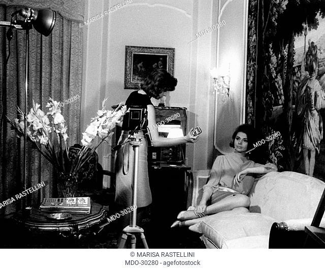 Sylva Koscina posing. Yugoslavian-born Italian actress Sylva Koscina posing for a photo-shooting in her house. Rome, June 1963