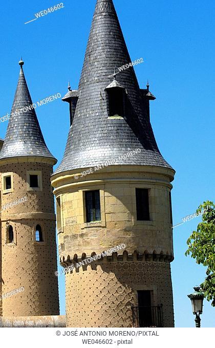 Alcazar fortress towers, Segovia. Castilla-León, Spain