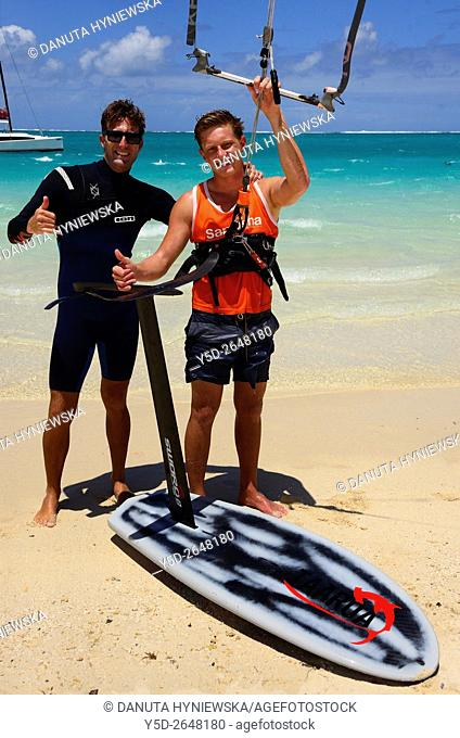 surfers with foilboard, new fast surfing sport - Foil boarding, Pointe d'Esny beach, Grand Port District, Southeastern coast of Mauritius, Mascarene