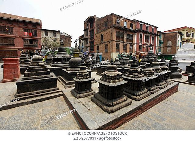 Chortens, Swayambhunath Temple, Monkey Hill, Kathmandu, Nepal