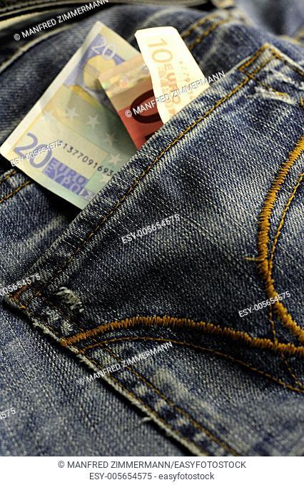 Euro bills in your pocket