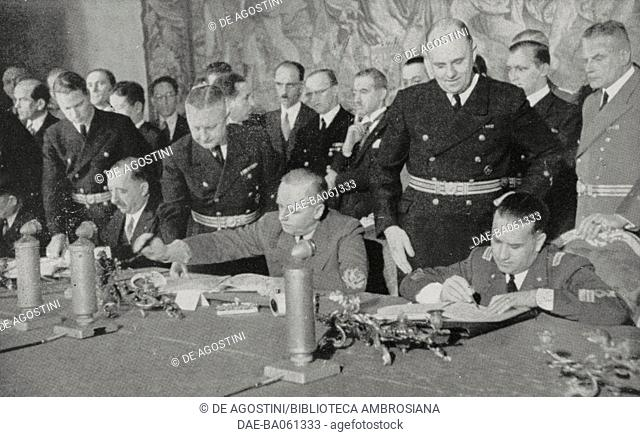 Bulgarian representatives signing the Tripartite Pact in the presence of Joachim von Ribbentrop and Galeazzo Ciano, Belvedere Palace, Vienna, March 1, 1941