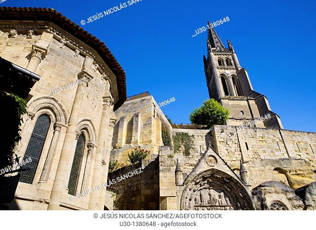 Trinité chapel and Monolithe church, in Saint Emilion, town listed as World Heritage by UNESCO  Libourne district, Gironde department, Aquitania region  France