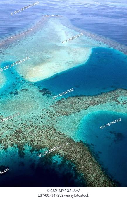 Aerial view of coral reefs