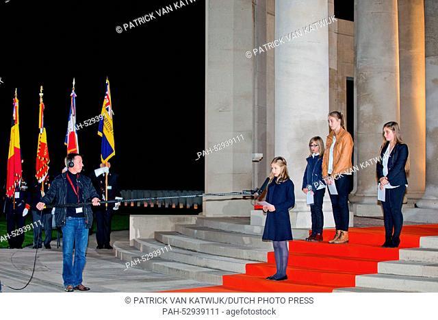 Princess Elisabeth of Belgium (C) attends a First World War commemoration, in Ploegsteert, Belgium, 17 October 2014. The Lichtfront will illuminate the front...