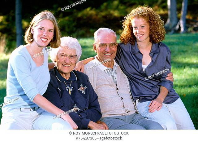 Portrait of grandparents and granddaughters