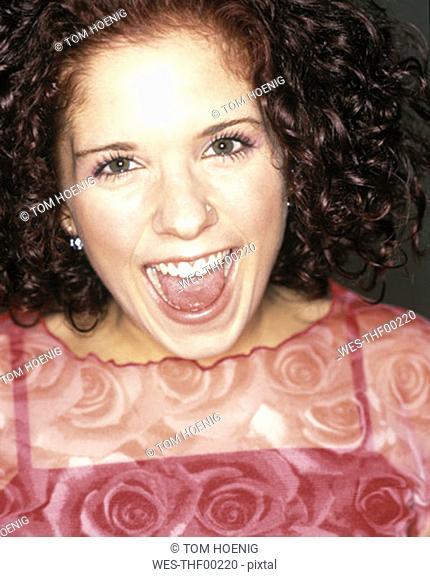 Woman laughing, portrait